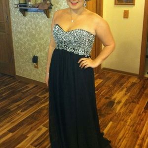 Size 12 long black prom dress with silver beading
